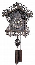 Cuckoo Clock, German, walnut highly ornate carved case and pendulum, fancy bone hands, 30 hour, fluted wood weights, c1880