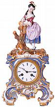 French porcelain 2-piece mantel clock, 8 day time and strike small unsigned movement with thread suspension, count wheel and bell