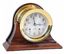 Chelsea Clock Co, Boston, Mass., 8 day ship's bell marine clock in mahogany cradle, 4