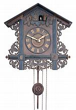 Clocks- 5 (Five) German Black Forest: three 30 hour cuckoos; one cuckoo and quail; modern time and strike in fretwork case