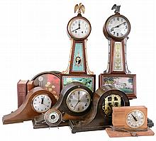 Clocks- 6 (Six) plus 2 books (Milham and Drepperd) , small barometer, 2 painted trays; includes Plymouth and New Haven