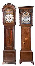 Tall Clocks- 2 (Two) English, 8 days, time and strike, weight driven movements in mahogany veneer cases with second bit's and calendars; one signed