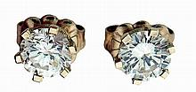 Earrings, 14 karat yellow gold, each set with a single diamond weighing approximately .35 carats, 1.0g TW, 20th century