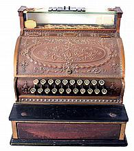 National cash register with embossed plates, wooden drawer, serial #1378870-333