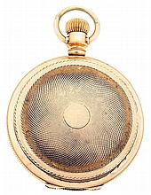 Hampden Watch Co., Canton, Ohio, man's pocket watch, 18 size, 11 - 15 jewels, stem wind, lever set, damascened nickel plate movement with lever escapement, cut bimetallic balance and Teske micrometric regulator in a yellow gold filled, reeded edge,