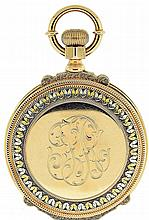 E. Howard & Co., Boston, Mass., man's series IV pocket watch, N size, 15 jewels, stem wind and set, adjusted, damascened nickel plate movement with lever escapement, cut bimetallic balance, gold jewel settings, gold timing screws and whiplash