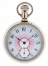 Hampden Watch Co., Canton, Ohio, man's pocket watch, 16 size, 15 jewels, stem wind, lever set, gilt plate movement with lever escapement and cut bimetallic balance in a oresilver, screw back and bezel, open face case and Arabic numeral multicolor