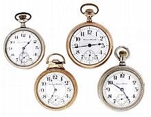 Pocket watches- 4 (Four): All Hampden, the first an 18 size with 15 jewel damascened nickel movement, Arabic numeral white enamel dial, silverine open face case, serial #2438085, the next a 16 size