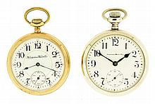 Pocket watches- 2 (Two): Both Hampden, the first an 18 size with 17 jewel nickel movement, Arabic numeral white enamel dial, nickel open face case, serial #1408788, the other a 16 size with 23 jewel nickel movement, Arabic numeral white enamel dial,
