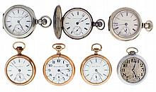 Pocket watches- 7 (Seven): All 18 size Hampden, 11 - 21 jewels, gold filled, nickel, and silver open face and hunting cases