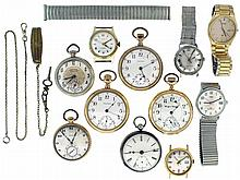 Pocket watches- 6 (Six): Including Hampden, Waltham, Elgin and an English lever fusee, 18 - 12 size, 7 - 17 jewels, gold filled and sterling silver, together with 8 wristwatches, two pairs of cufflinks, a pair of earrings, and two watch chains