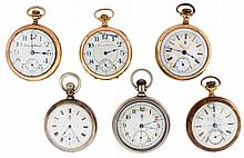 Pocket watches- 6 (Six): All Hampden, 18 - 16 size, 11 - 17 jewel, four with arcaded O'Hara style enamel dials, nickel and gold filled open face cases