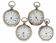 Pocket watches- 4 (Four): All 18 size Hampden, the first a 15 jewel key wind Roman numeral white enamel dial, nickel open face case, serial #125212, the next an 11 jewel key wind Roman numeral white enamel dial, 4 oz. coin silver open face case,
