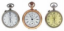 Pocket watches- 3 (Three): A Lenox Swiss chronograph with Roman numeral, white enamel dial, instantaneous 30 minute register, gold filled, open face case, and two C.L. Guinand split seconds timers with 30 minute registers, both with white enamel