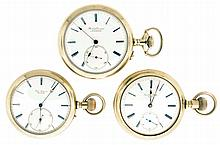 Pocket watches; 3 (Three): All Swiss, now in display cases, the first a Jules Jurgensen, 21 jewel cotes de Genève decorated nickel movement, Roman numeral white enamel dial, serial #10040, the next a Borel & Courvoisier, 21 jewel cotes de Genève