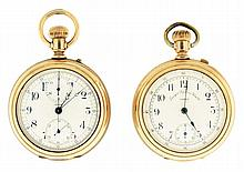 Pocket watches- 2 (Two): Both Swiss chronographs, roughly 16 size, the first a