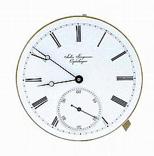 Jules Jurgensen, Copenhagen, Denmark, minute repeating movement (only) with dial, 28 jewels, stem wind with Jurgensens bow setting, cotes de geneve decorated nickel bar movement, Roman numeral, single sunk, white enamel dial, with plum colored steel