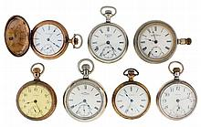 Pocket watches- 7 (Seven): All Waltham, 18 - 16 size, 7 - 17 jewels, white enamel dials, sterling silver, nickel and gold filled hunting and open face cases
