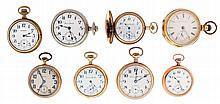 Pocket watches- 8 (Eight): All Hampden, 18 - 12 size, 7 - 21 jewels, enamel and metal dials, nickel and gold filled open face and hunting cases