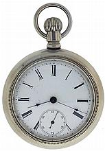 New York Standard Watch Co., Jersey City, NJ, man's pocket watch with worm gear driven escape wheel, 18 size, 5 jewels, stem wind and lever set gilt plate movement with lever escapement in a silverode, screw back and bezel open face case and Roman