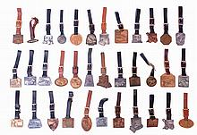 Fobs- 35 (Thirty five). Heavy equipment advertising fobs including Caterpillar, Warner & Swasey, Clark, Ingram, and others, 20th century