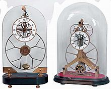 Clocks- 4 (Four) Chinese modern reproduction brass, glass, painted wood, and marble, 8 days, time only skeleton and upside-down swinger clocks, late 20th century