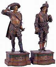 Cast spelter standing figures- 2 (Two) Don Juan and Don Caesar in Japanese Bronze finish, probably Ansonia, c1904