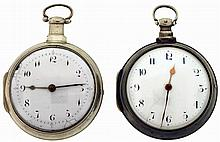 Pocket watches- 2 (Two): Both English pair cased verge fusees, the first by Douglas, Liverpool, Arabic numeral white enamel dial, sterling silver cases with date letter for the year 1814, the other by Jno. Prince, London, Arabic numeral white enamel