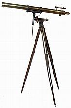 Brass telescope, Asian reproduction, with view finder and two lenses in original wooden box including tripod, circa late 20th century