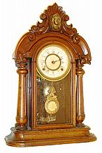 Ansonia Clock Co., Ansonia, Conn, 8 days, time and strike, spring driven shelf clock, c1880.
