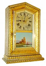 Anglo-American, Holloway & Co, London, 8 days, time and strike, gilt ripple molding shelf clock c1860. Case houses an unsigned American movement possibly made by Ansonia.