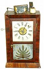 Ansonia Brass & Copper Co., Ansonia, Conn., automatic candle light alarm clock, 30 hours, time and bell strike alarm, spring driven movement in a mahogany veneer case with a frosted tablet and painted metal dial, c1870