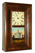 Ansonia Brass Co., Ansonia, Conn., 8 days, time and strike, mini OG shelf clock, c1860