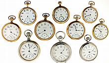 Pocket watches- 10 (Ten), all Waltham, 18 size model 83, 17 jewel gilt movement, Roman and Arabic numeral 24 hour white enamel dial, nickel swing out case with gold locomotive on back, serial #16120214, 18 size model 83, 17 jewel nickel movement,