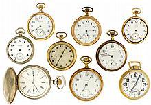 Pocket watches- 10 (Ten), all Waltham, 18 size