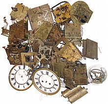 Clock movements, parts and dials: German mostly antique for Vienna regulators, etc.