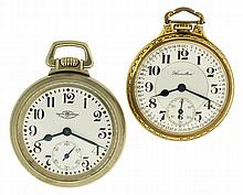 Pocket watches- 2 (Two), 16 size Ball - Waltham Official RR Standard, 19 jewel nickel movement, Arabic numeral white enamel dial, silveroid open face case, serial #B0542380, 16 size Hamilton 992, 21 jewel nickel movement, Arabic numeral white enamel