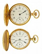 Pocket watches- 2 (Two), 0 size Waltham, 15 jewel damascened nickel movement, Arabic numeral white enamel dial, 14 karat yellow gold engraved hunting case, serial #16824675, 0 size Longines for Lambert Brothers, New York, 7 jewel spotted nickel