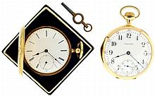 Pocket watches- 2 (Two), 16s Waltham, stem wind and set 15 jewel nickel movement, serial #19692397 in a 14 karat yellow gold open face case, and an M. Montandon, Locle, Switzerland, lady's pocket watch, 15 jewel key wind and set gilt bar movement