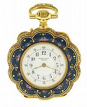 Henry Capt, Geneva, Switzerland, triple signed lady's pendant watch, 10 jewels, stem wind and pin set, gilt bar movement with cylinder escapement in an 18 karat yellow gold, hinged back and bezel, engraved, open face case with maker's details
