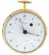 Breguet, a Paris, France, triple signed verge fusee pocket watch with date display, key wind and set gilt plate movement with verge escapement, pierced and engraved balance bridge and Tompion regulator in a 16 - 18 karat, consular open face case with