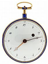 Drury, probably Swiss, fusee pocket watch, key wind and set, gilt full plate movement with pierced and engraved balance bridge, verge escapement and Tompion regulator, in an 18 karat, yellow gold, consular open face case, the sides with champlevé