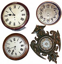 Clocks- 3 (Three) wall clocks plus one case: English dial with fusee; English dial with going barrel; fancy bronzed iron case; round Austrian brass and iron case only