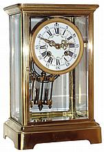 French 8 days, time and strike, lacquered brass and beveled glass crystal regulator, c1900