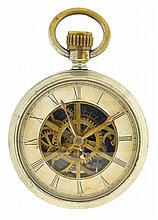 Benedict & Burnham Mfg. Co., Waterbury, Conn., long wind with rotating movement and skeletonized dial and movement, 18 size, stem wind, 6 spoke movement with duplex escapement in a nickel case with stamped decoration, snap back and bezel open face
