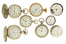 Pocket watches- 5 (Five), N size Howard series III, 15 jewel gilt movement, Roman numeral white enamel dial, coin silver open face case, serial #8568, N size Howard series VII, 15 jewel gilt movement, Roman numeral white enamel dial, gold filled open
