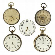 Pocket watches- 5 (Five), W. Hollison, London, verge fusee, gilt full plate movement, Roman numeral white enamel dial, sterling silver pair case, serial #11514, Johnson, Liverpool, gilt full plate movement with Massey III lever escapement, Roman