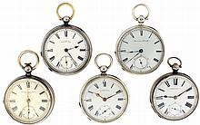 Pocket watches- 5 (Five), all Waltham in English hallmarked sterling silver cases, 18 size P.S. Bartlett, key wind and set 11 - 15 jewel gilt plate movement, white enamel Roman numeral dial, engine turned and engraved open face case, serial #646987,