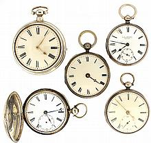 Pocket watches- 5 (Five), all fusees, Jas. Murray, London, 9 - 11 jewel gilt lever movement, Roman numeral white enamel dial, sterling silver hunting case, serial #2627, J.W.Benson, London, 7 jewel gilt lever movement, Roman numeral white enamel
