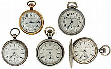 Pocket watches- 5 (Five), All Hampden, 18 size, key wind 11 jewel gilt movement, Roman numeral white enamel dial, engine turned and engraved coin silver open face case, serial #241318, 18 size